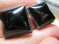 STERLING SILVER 925 ESTATE VINTAGE LOUISE YAZZIE BLACK ONYX CLIP ON EARRINGS