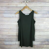 MICHAEL STARS Anthropologie Ribbed Cold Shoulder 3/4 Sleeve Top ONE SIZE Green