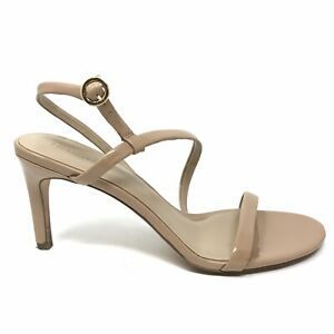 Enzo Angiolini Womens Sz 11 Nude Patent Leather Strappy Heeled Sandals Open Toe