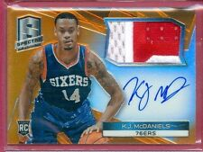 2014-15 SPECTRA BKB K.J. McDaniels SSP ORANGE PRIZM AUTO/PATCH RC CARD #ed 17/25