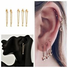 5PCS/Set Minimalist Chain Earrings Punk Moon Star Long Tassel Earrings Jewelry