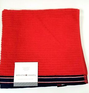 NEW TOMMY HILFIGER RIBBED W TRIM TANGO RED,NAVY BLUE 100% COTTON BATH TOWEL