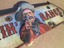 Shootin' Range Metal Tin Sign 16 x6 Garage Mancave Hunting Cowboy Remington