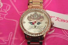 BETSEY JOHNSON Watch Princess Crown Cat Face Rose Gold Band CZ accent gift box
