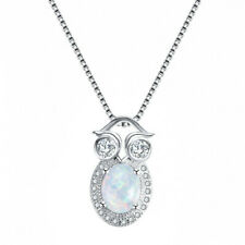 Fashion Silver Crystal Owl White Imitation Opal Pendant Necklace Wedding Jewelry