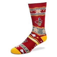 Cleveland Cavaliers NBA Ugly Christmas Gingerbread Crew Sock Burgundy Yellow