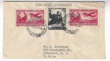 1948 Bucharest Romania  Airmail to Elizabeth New Jersey, 20L Two 30L #701, #C32
