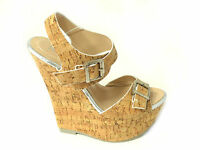 LADIES WOMENS PEEP TOE STRAPPY BUCKLE HIGH CORK WEDGE PLATFORM HEEL SHOES SANDAL