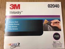 3M 02040 Wetordry Sandpaper 9 x 11 Sheet 320 Grit 50 Sheets 2040
