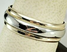 14Kt 2 Tone Gold Wedding Band Size 10.75 & 7Mm Very Nice Weight @ 5.8 Grams!