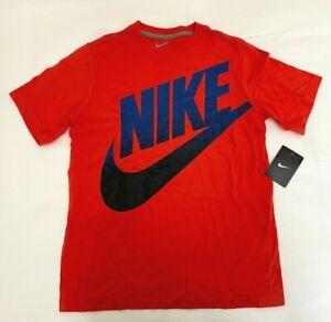 Nike Meso Fatura Boys Large T-Shirt Blue, Blood Orange Crew Neck