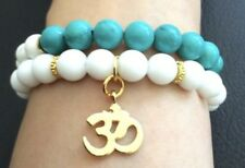 14K Ohm Om Ocean Bracelet Blue White Beaded Set