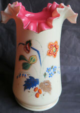 "ANTIQUE VICTORIAN RUFFLED WHITE AND PINK VASE WITH ENAMEL FLOWERS 8.75"" TALL"