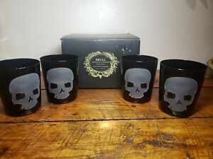 Set Pottery Barn Skull Etched Metal Double Old Fashioned Glasses Halloween Party