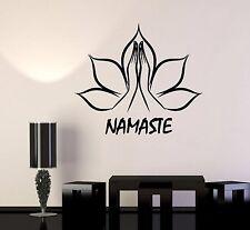 Vinyl Wall Decal Lotus Flower Namaste Hands Yoga Stickers (845ig)