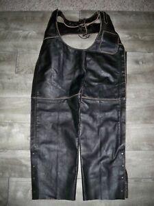 Men's River Road Biker Black Leather Riding Chopper Motorcycle Chaps Pants 2XL