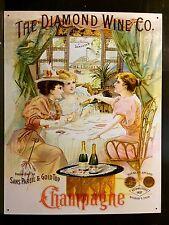 Diamond Wine Co Champagne Sandusky Ohio TIN SIGN vtg Metal Victorian Ladies