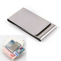 Two-Sided Stainless Steel Slim Pocket Money Clip Wallet Credit Card Cash Holder-