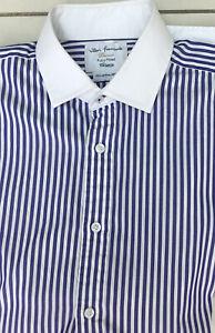John Francomb Blue& White Striped Shirt (15.5)
