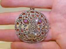 GENUINE! 0.40ct African Ruby & Marcasite Sterling Silver 925 Tiger Pendant!