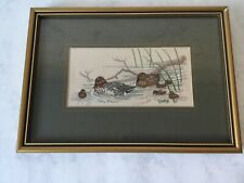 Vintage Duck Embroidery Wall Hanging Framed
