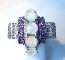 "GORGEOUS WHITE FIRE OPAL/AMETHYST   RING UK Size ""R"" US 9"