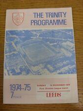15/12/1974 programma Rugby League: Wakefield Trinity V LEEDS. condizione: noi come