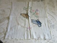 Vintage embroidered textile remnant. Buitterflies