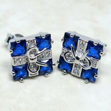 AWESOME PRINCESS CUT SAPPHIRE BLUE 925 STERLING SILVER STUD EARRINGS