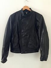 VTG Mens M Julian Leather Moto Jacket Bomber 38 Black Biker Wilsons S Cafe Racer