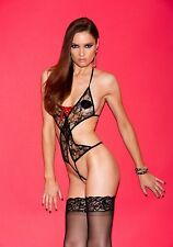 iCollection Lingerie 1610 Stretch Lace Open-Crotch Halter Teddy (Black;One Size)