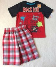 TODDLER BOYS OUTFIT SHIRT + PLAID SHORTS SIZE 4T NEW WITH TAGS