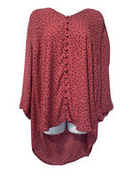 Torrid Pink Black Polka Dots Short Sleeve Button Up Blouse Plus Size 3
