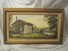"20"" x 24"" framed oil painting canvas panel Carmen Merriman Indiana artist signed"