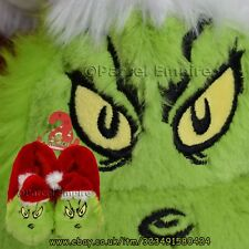 FREE NEXT-DAY Dr Seuss GRINCH SLIPPERS Evil Grin Christmas Gift Present Shoes 3D