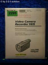 Sony Bedienungsanleitung CCD TRV100E Video 8 Camera Recorder (#2295)