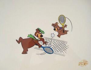 YOGI BEAR & BOO BOO Playing Tennis Sericel Animation Art Cel by Hanna Barbera
