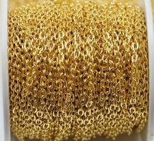 New 1/5/100M Iron Gold Silver Plated Solid Metal Chains Jewelry Findings 3x4mm