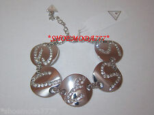 GUESS Exclusive Rhinestones Logo Bracelet Silver Tone Gift Pouch New Authentic