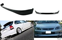 FOR 99-00 CIVIC HATCHBACK 3 DOOR PU BLACK ADD-ON FRONT + REAR BUMPER LIP SPOILER
