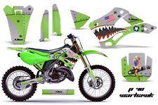 Dirt Bike Decal Graphics Kit Wrap For Kawasaki KX125 KX250 1999-2002 WARHAWK GRN