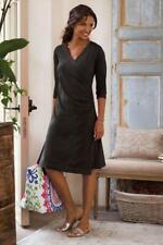WOMEN'S SOFT SURROUNDINGS BLACK WEAR ANYWHERE FAUX WRAP DRESS - PETITE SMALL