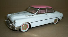 OLD METAL TOY CAR with Friction Drive Rubber Tires Works Pink & White
