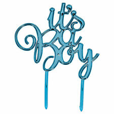 "Blue Boy's CUTE ""It's A Boy"" Baby Shower Sign Party Cake Topper Decoration"