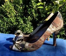 J. CREW Peep Toe RHINESTONE RIBBON Picaso High Heels Womens Stilettos Shoes Sz 7
