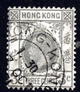 Hong Kong 1931 3c Grey KGV Wmk Mult Script CA Fine Used (1)