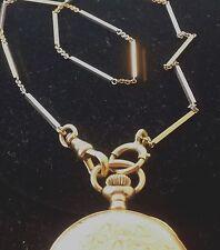"Antique 14k 2-tone Gold  Bar Links Pocket Watch Vast Chain 14.25"" L"