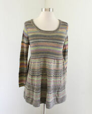Moth Anthropologie Striped Wool Baby Doll Sweater Size S Muted Rainbow Multi