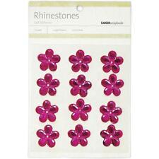 "**BRAND NEW** Kaiser Craft ""Hot Pink Flower Rhinestones"" 12 per Pack SB740"