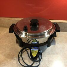 ROYAL PRESTIGE Liquid-Core Stainless Immersible Electric Skillet + Vented Lid